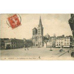 carte postale ancienne 14 LISIEUX. Cathédrale Place Thiers 1914