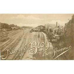 41 BLOIS. Bon souvenir avec Train locomotive sortant de la Gare 1922
