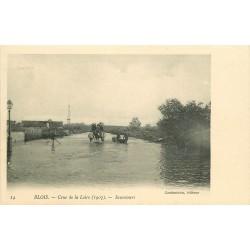 41 BLOIS. Crue de la Loire 1907 Sauveteurs en barque et attelage