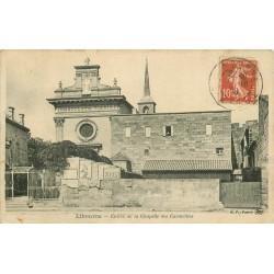 2 x cpa 33 LIBOURNE. Chapelle des Carmélites 1909 et bateau Quai Souchet