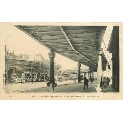 PARIS XIX. Vie aérienne du Métropolitain à la Villette vers 1905...