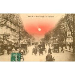 PARIS 02. Voitures, Bus, voitures et Fiacres Boulevard des Italiens 1911