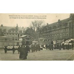 2 x cpa 35 RENNES. Obsèques du Cardinal Labouré et le Lycée 1935