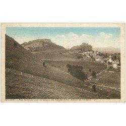 carte postale ancienne 15 APCHON. Les Orgues du Cheylet et Ruines du Château 1946