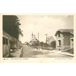 Promo 2 x cpa 41 CHAUMONT-SUR-LOIRE. Les Hôtels et l'Eglise sur Grande Rue