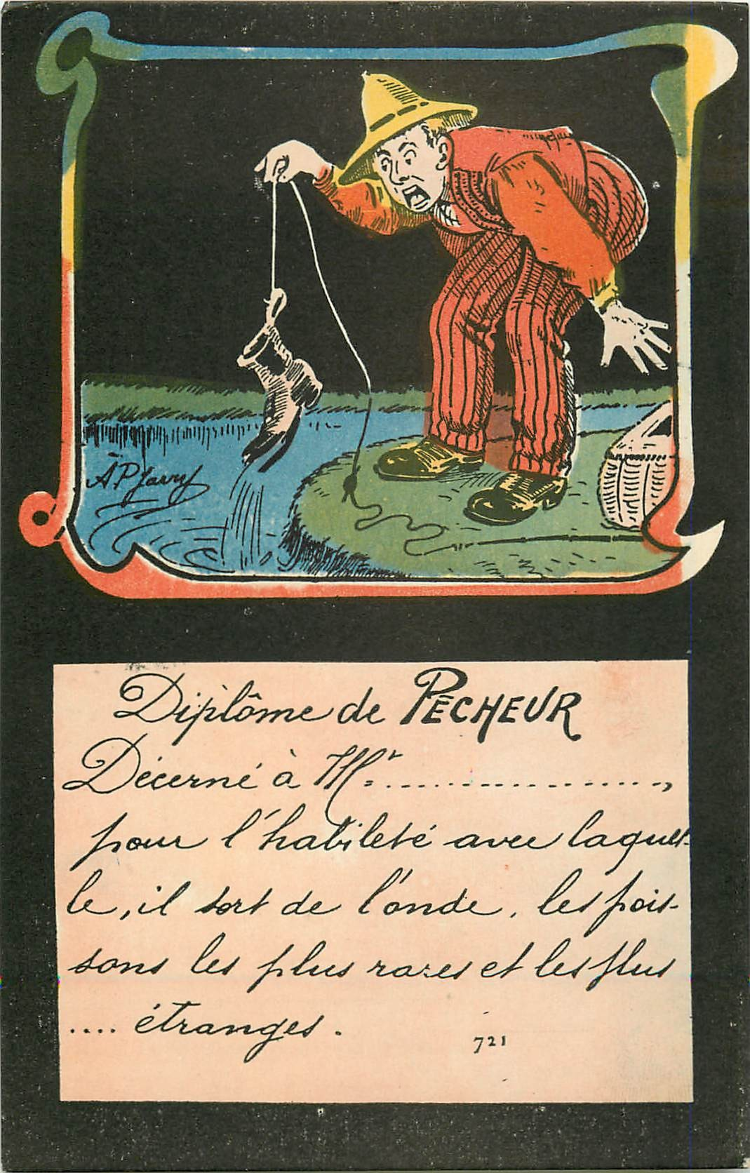 METIERS. Diplôme de Pêcheur par Jarny.