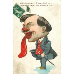 HUMOUR Caricature. La parole est d'argent mais le silence est d'or 1907 médite ce proverbe...