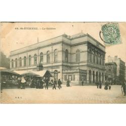 2 x Cpa 42 SAINT-ETIENNE. Le Théâtre 1907 et la Caserne d'Infanterie