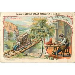 Chromos & Images. LE BOULEAU. Arbres et usages. CHOCOLAT POULAIN 7 x 10.5 cm