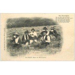 carte postale ancienne 15 AURILLAC. Repas des Moissonneurs. Lou Desporti (légèrement gondolée)...