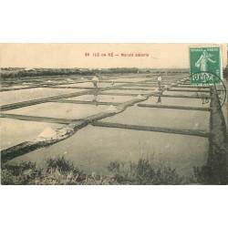 17 ILE DE RE. Les Paludiers dans les Marais Salants 1923