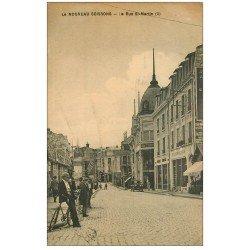carte postale ancienne 02 SOISSONS. La Rue Saint-Martin 1924. Panneau Publicitaire Singer