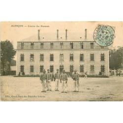 2 x Cpa 61 ALENCON. Caserne des Hussards 1905 et Champ de Foire route de Paris 1922
