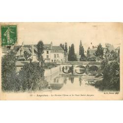 2 x Cpa 61 ARGENTAN. Pont Saint-Jacques sur l'Orne 1916 et Cour Institution Jeanne d'Arc