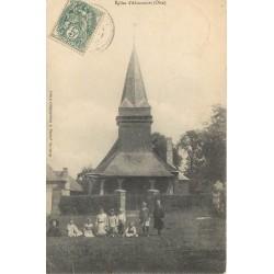 60 ABANCOURT. L'Eglise avec enfants 1907