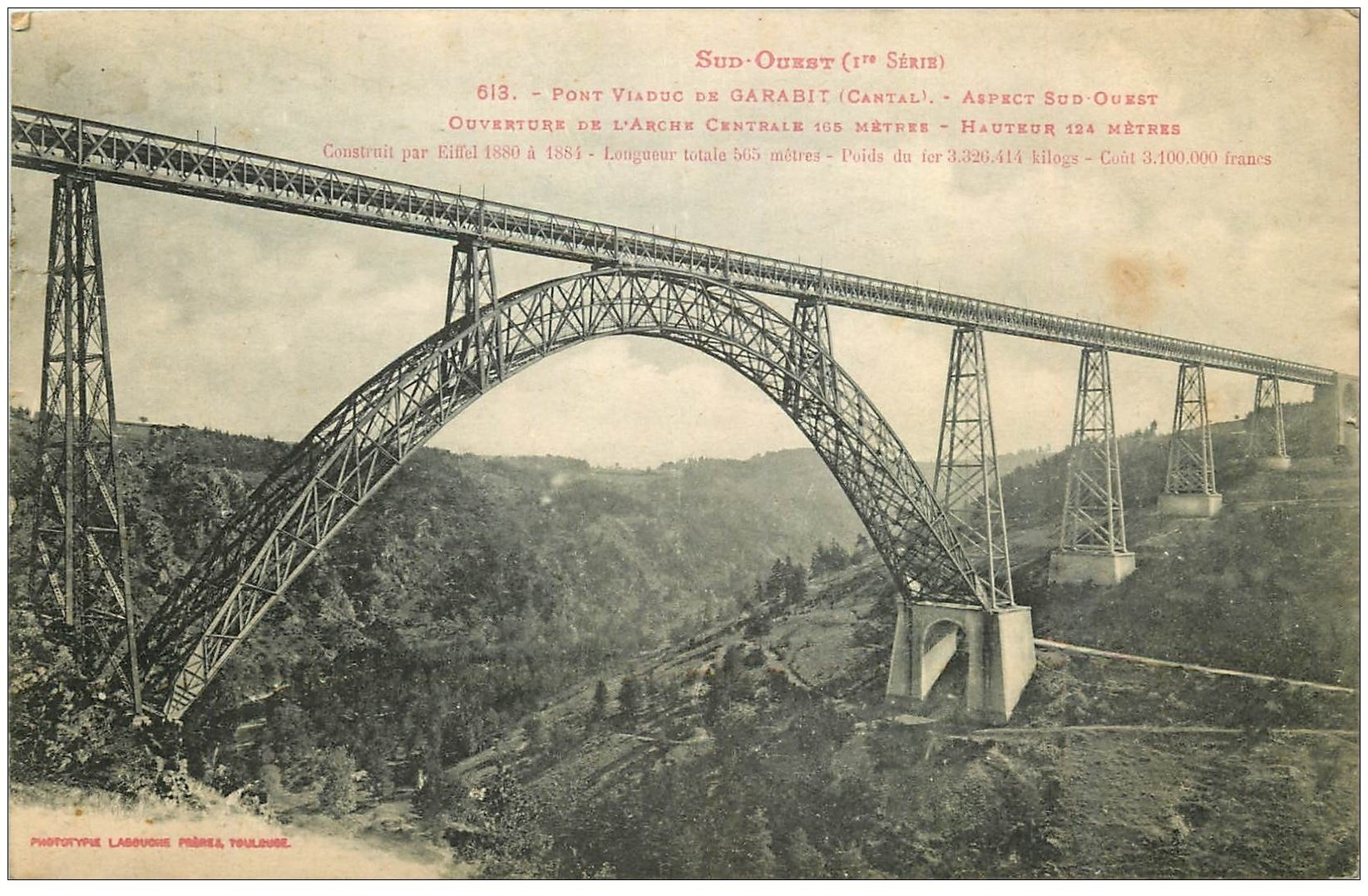 carte postale ancienne 15 GARABIT. Le Viaduc sur Vallée de la Truyère 1919