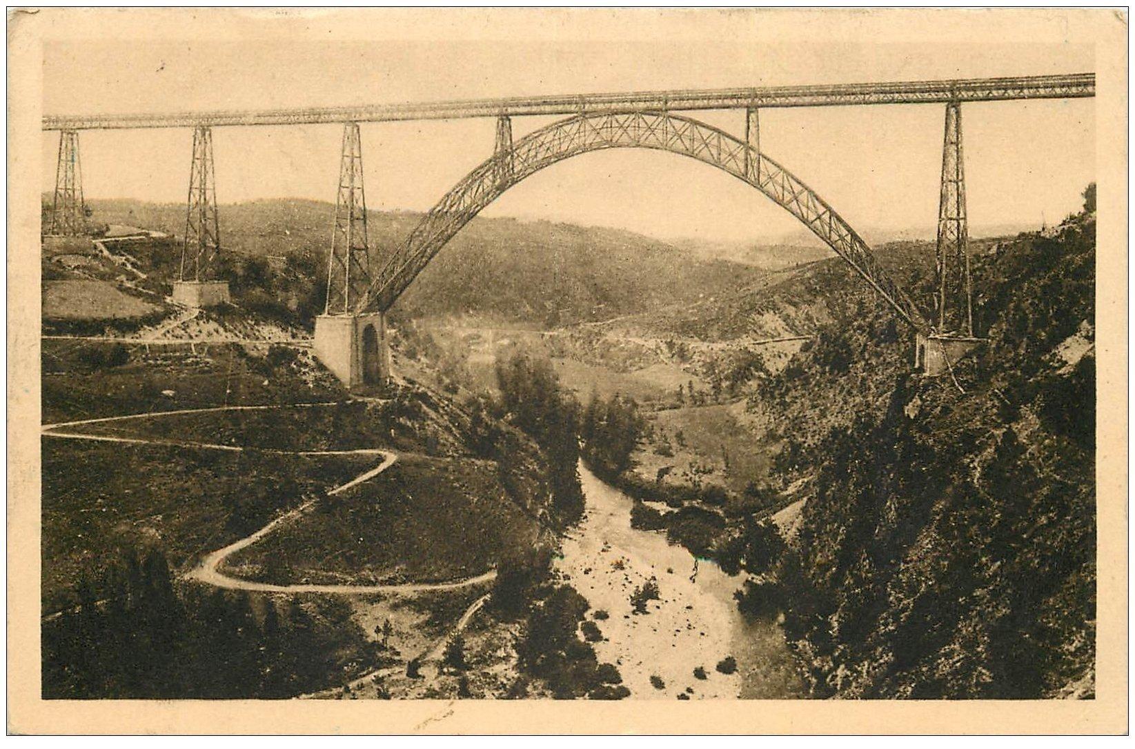 carte postale ancienne 15 GARABIT. Le Viaduc sur Vallée de la Truyère 1933