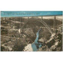 carte postale ancienne 15 GARABIT. Le Viaduc sur Vallée de la Truyère. Bleuté