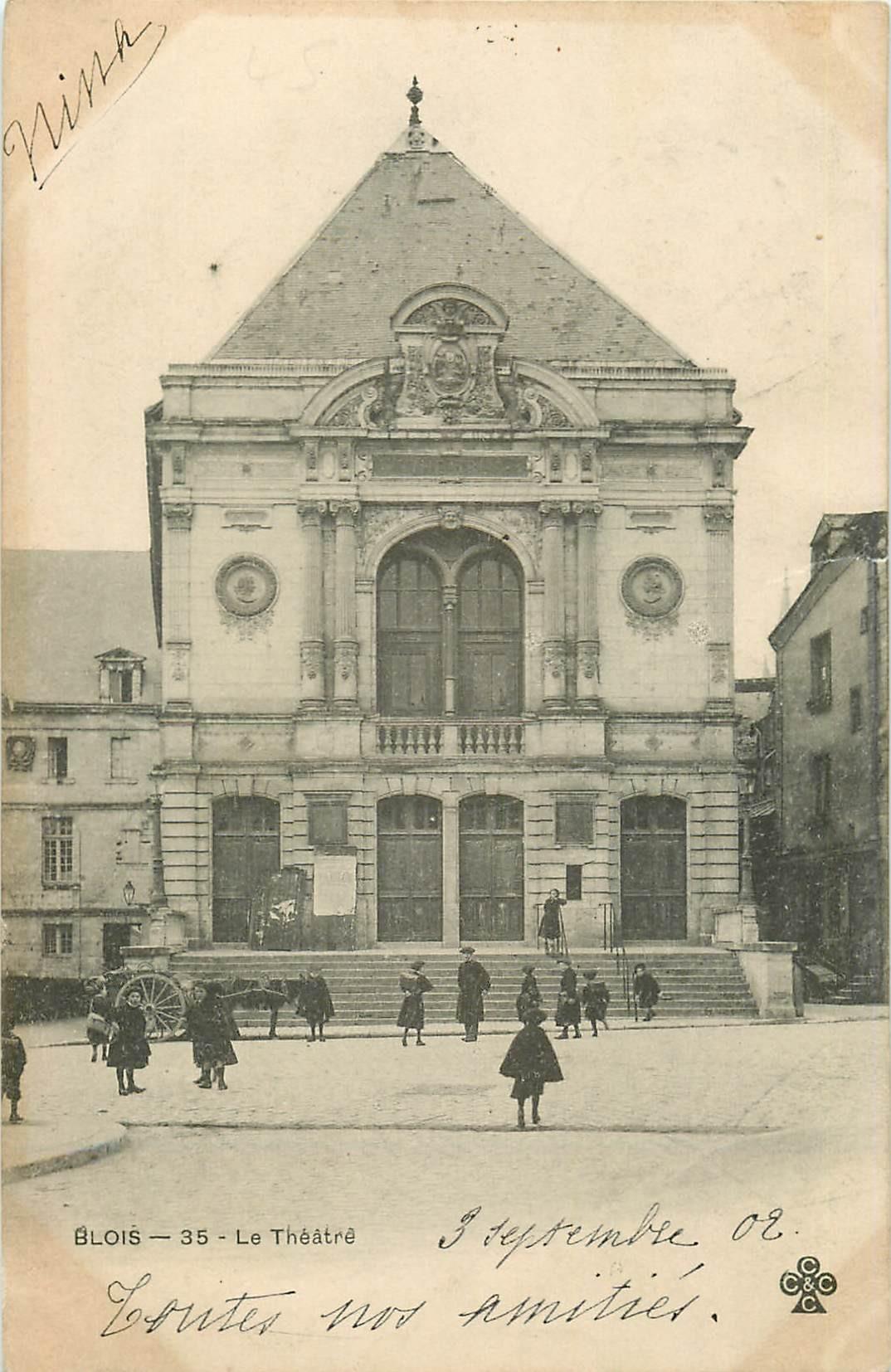 2 x Cpa 41 BLOIS. Le Théâtre 1902 et 1917