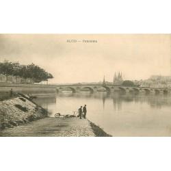 3 x cpa 41 BLOIS. Jeune Pêcheur, Lavandière, Pont et Quais 1915