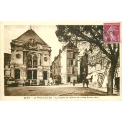 41 BLOIS. Le Théâtre et la rue Saint-Lubin Place Louis XII avec le Bar du Marché 1938