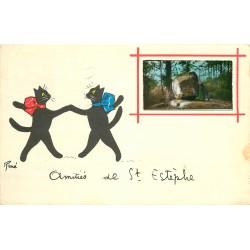 24 SAINT-ESTEPHE. Petits chats par René carte à système avec véritable photo collée 1958