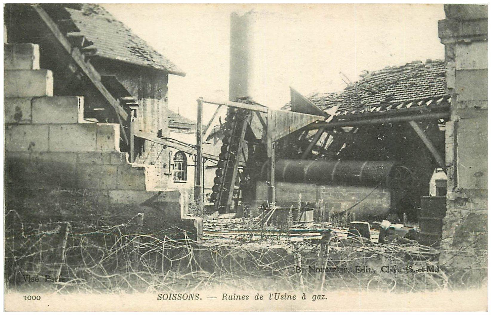 carte postale ancienne 02 SOISSONS. L'Usine à Gaz 1917
