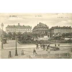 2 Cpa 76 LE HAVRE. Théâtre et Hôtel de Ville vendeurs ambulants