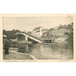 2 x Cpa 77 LAGNY THORIGNY. Pont de Fer détruit par le Génie Français 1914