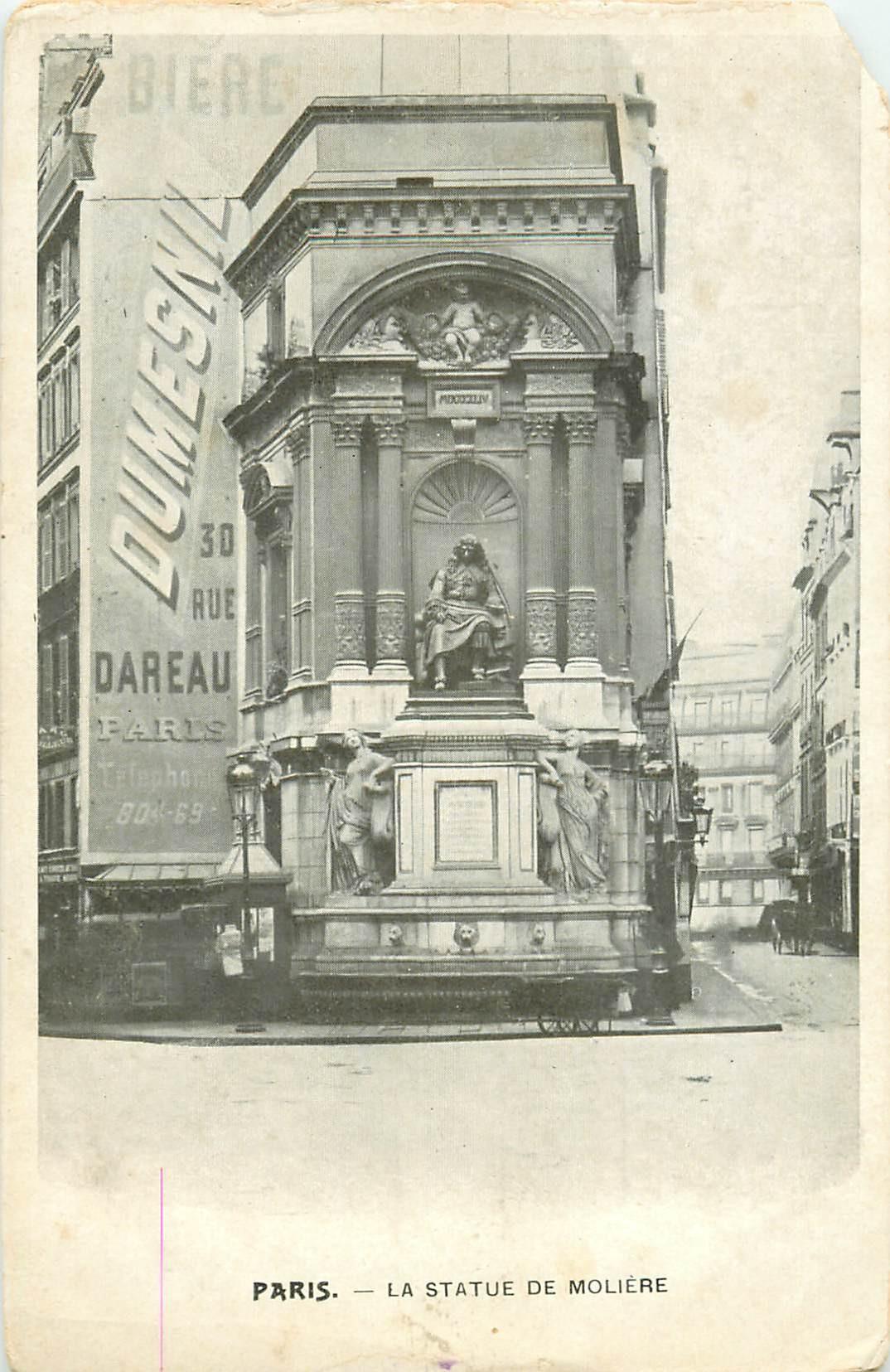 PARIS 14 Statue de Molière au 30 rue Dareau. Publicité murale Bière Dumesnil (défaut)