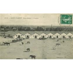 79 SAINT-VARENT. L'Annexe avec chevaux et militaires 1914