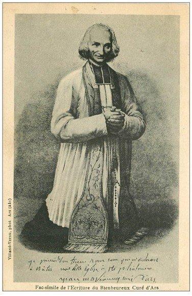 carte postale ancienne 01 Ars. Ecriture du Bienheureux Curé