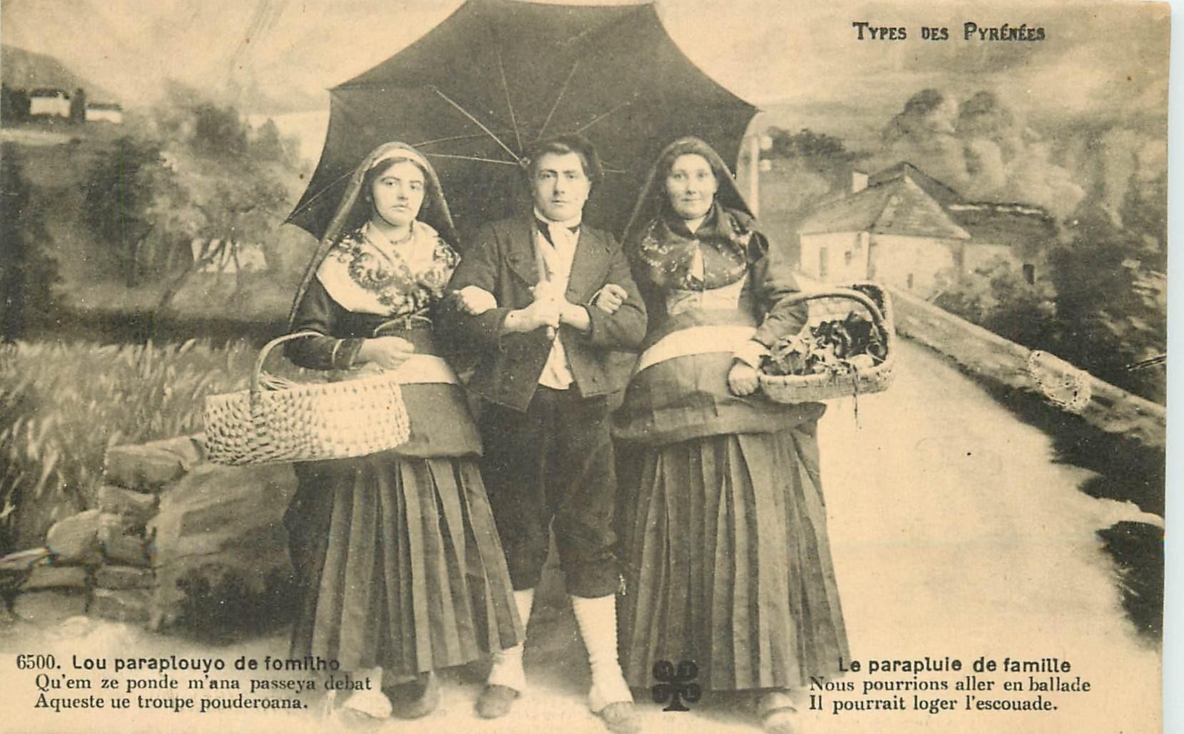 65 TYPES DES PYRENEES. Le parapluie de famille Lou paraplouyo de fomilho