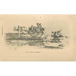 14 LUC-SUR-MER. La Pêche aux Moules avec attelage vers 1900