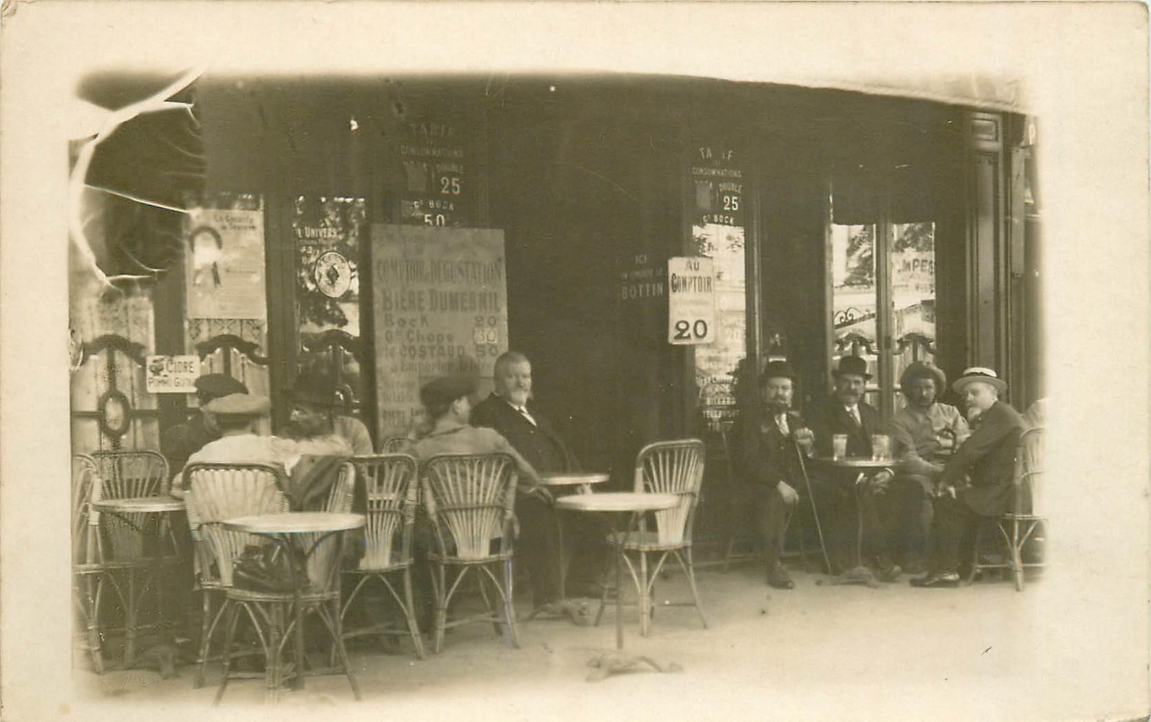 """Photo carte postale Café Bar Restaurant publicité """" Bières Dumesnil """""""