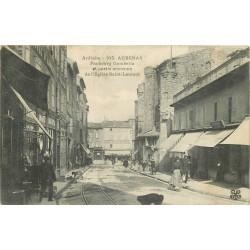 07 AUBENAS. Faubourg Gambetta avec Café de la Rotonde 1908