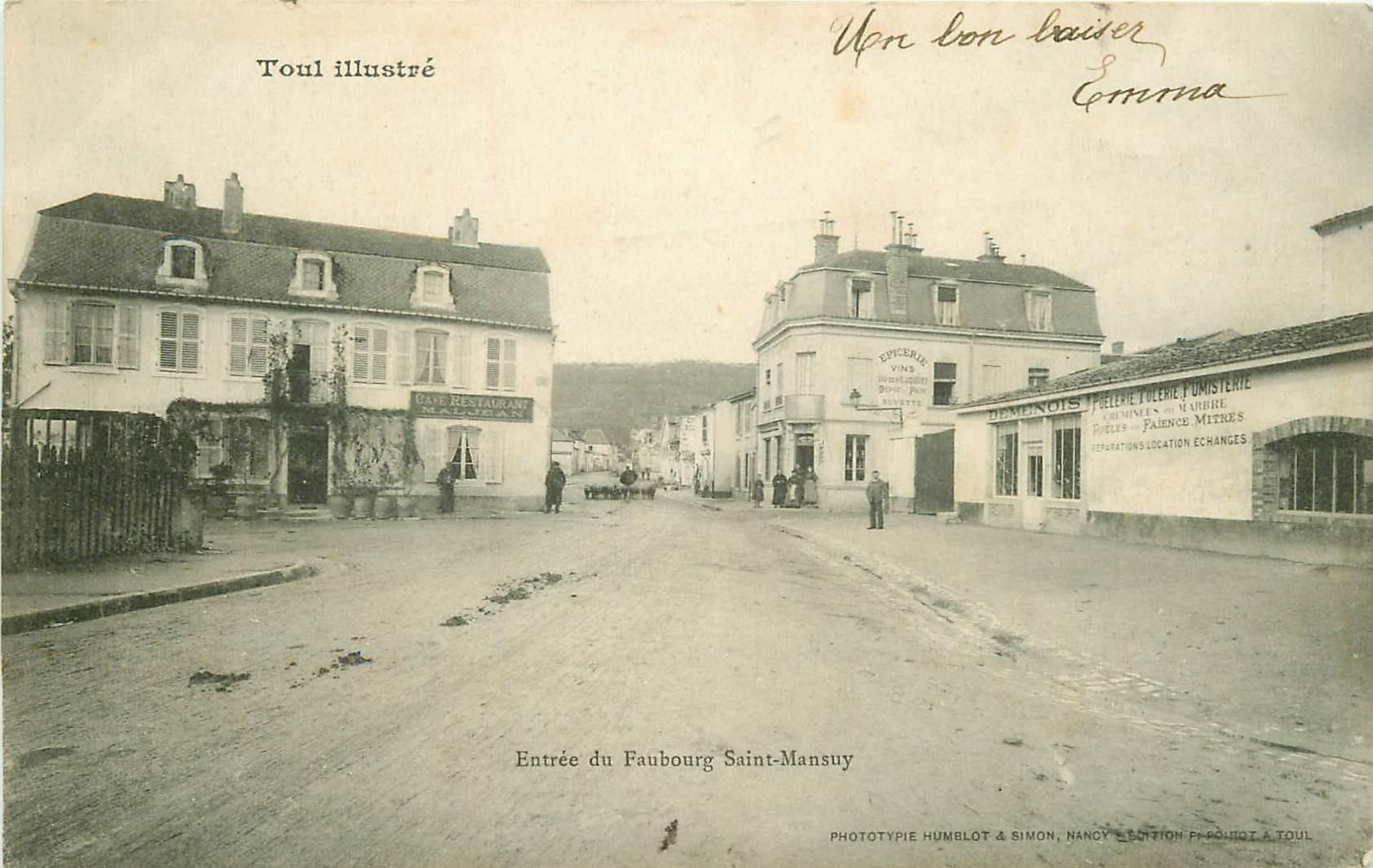54 TOUL. Entrée du Faubourg Saint-Mansuy avec Café Maljean