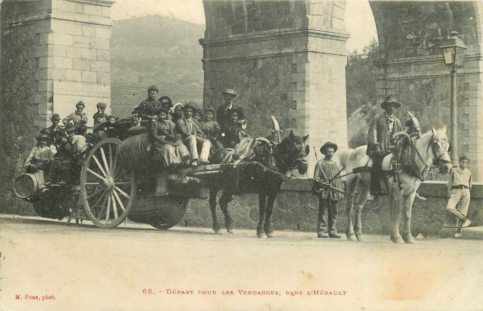 34 LAMALOU-LES-BAINS. Départ pour les Vendanges dans l'Hérault 1908