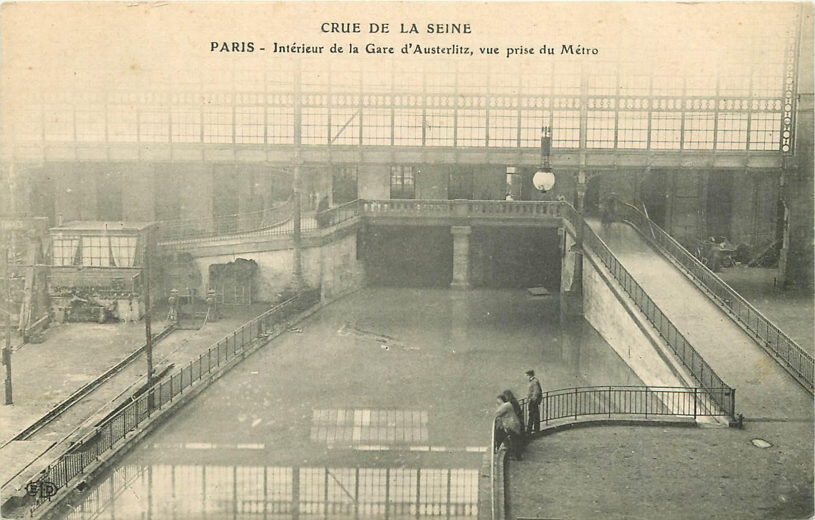 75005 PARIS. Métro de la Gare d'Austerlitz inondé pendant la Crue de 1910