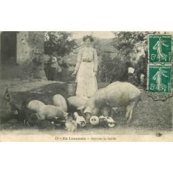 87 EN LIMOUSIN. Déjeuner en famille avec fermière, cochons et canards