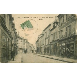 95 GONESSE. Rue de Paris avec nombreux Commerces 1924
