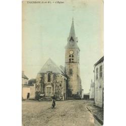 77 TOUSSON. L'Eglise avec cycliste