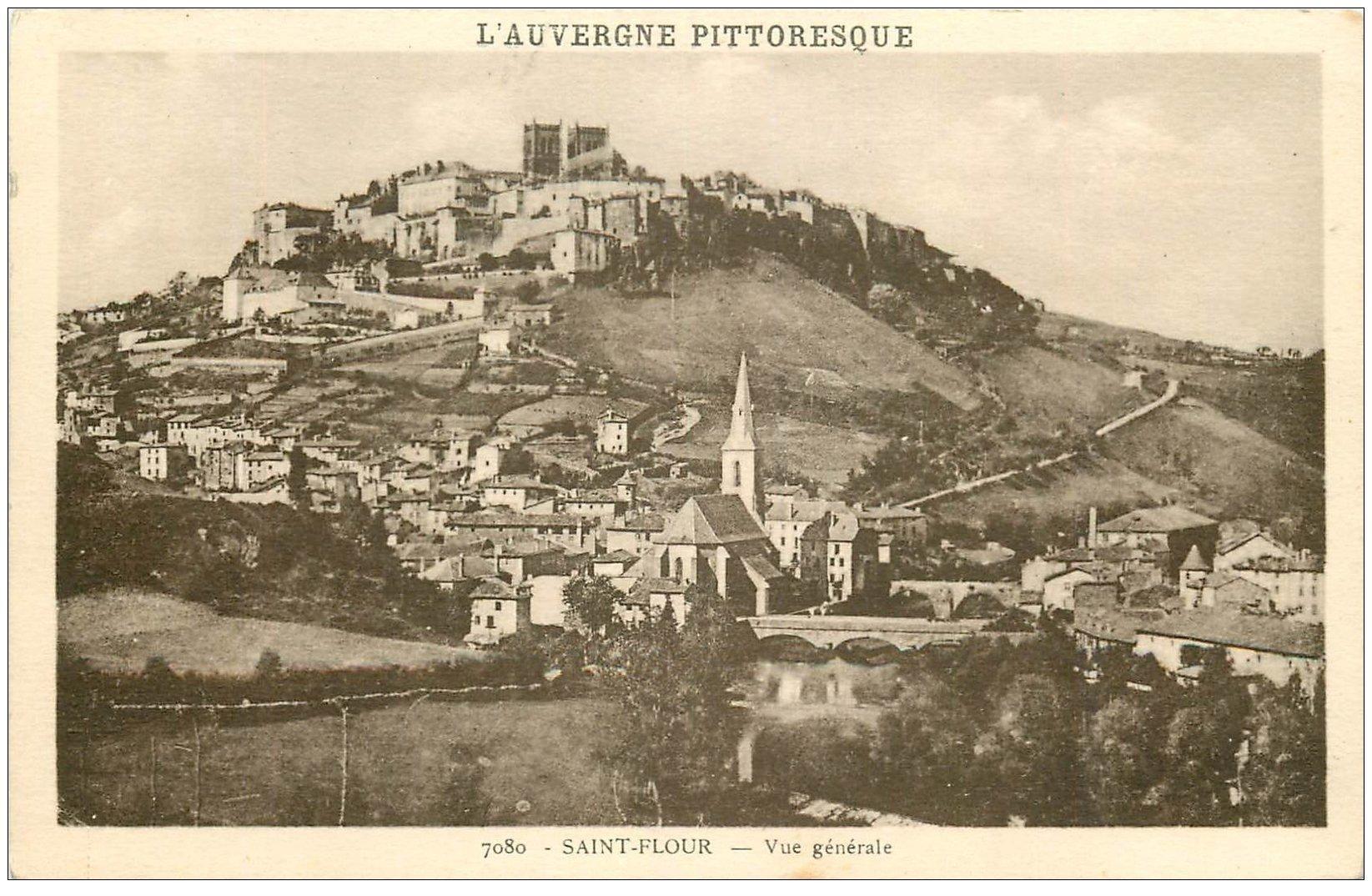 carte postale ancienne 15 SAINT-FLOUR. Vue générale 1948