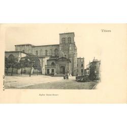 2 x Cpa 63 THIERS. Eglise Saint-Genez et vue prise du Pont de Seychalles 1907