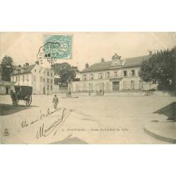 2 x Cpa 95 PONTOISE. Place Hôtel de Ville 1903 et Pont métallique 1914