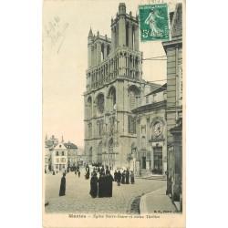 78 MANTES. Eglise Notre-Dame et vieux Théâtre 1910
