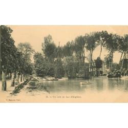 95 ENGHIEN. Un coin du Lac avec rameur vers 1900...