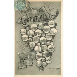 95 ARGENTEUIL. Multi-vues sur feuille de vigne 1905