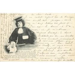 """lot 5 Cpa sur les métiers de la Justice """" LA FEMME AVOCAT """" et sa poupée en 1902"""