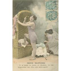 """2 Cpa sur """" MODE DES MAILLOTS DE BAINS """" propos balnéaires et volupté 1904"""